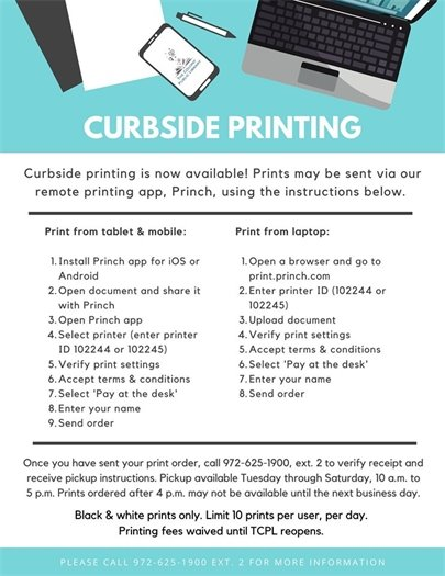 Curbside printing instructions