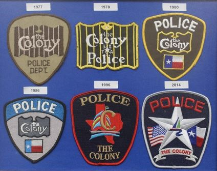 Image of six Police department badges from 1977 until present